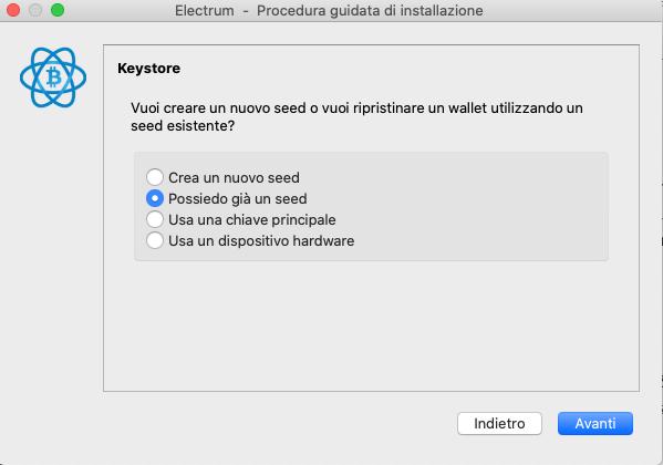 Electrumwallet desktop ripristina wallet da seed