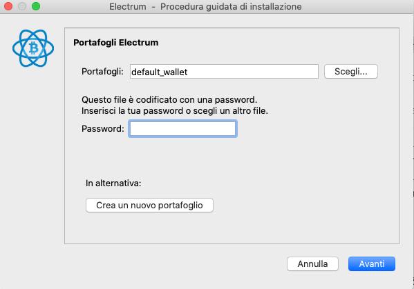 Electrum wallet desktop ripristina wallet da file .dat